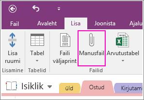 Screenshot of the Insert File Attachment button in OneNote 2016.