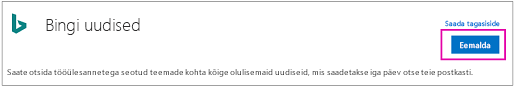 Bingi uudiste konnektori eemaldamise nupp
