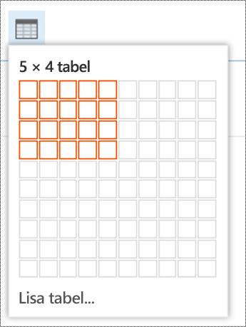 Lisage Outlooki veebirakenduses lihtne tabel.