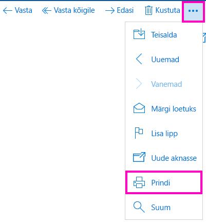 Meilisõnumi printimine Windows 10 meilirakenduses