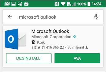 Outlooki rakenduse avamiseks puudutage käsku Ava
