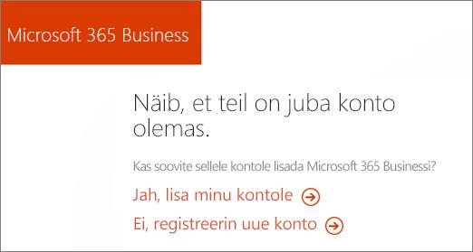Link osta otse Microsoft 365 ettevõtteversiooni, valige praegune kontole lisada või uue konto.