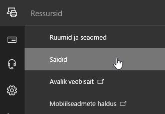 Office 365 halduskeskuse menüü Ressursid, kus on valitud Saidid