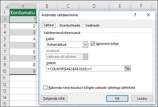 Näide 4 Valemite kasutamine andmete valideerimisel