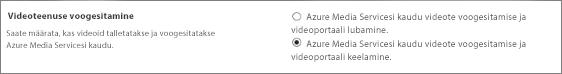 """SharePoint Online'i administreerimiskeskuse säte """"Office 365 videoportaali keelamine"""""""