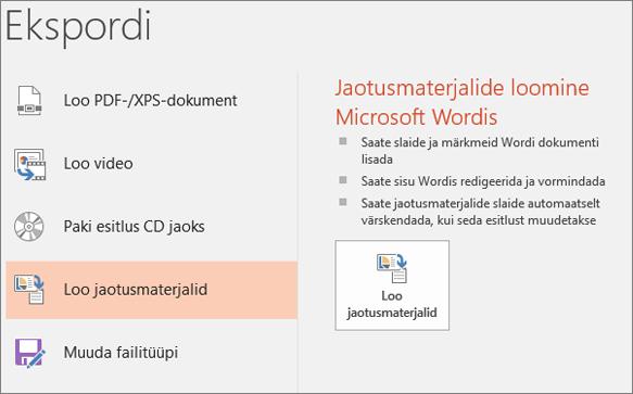 Kuva lõikepilt PowerPointi kasutajaliidese näitab faili > ekspordi > Loo jaotusmaterjalid.