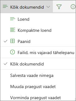Office 365: dokumenditeegi vaate muutmine
