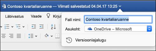 Dialoogiboks faili toimingud käivitatakse Wordi dokumendi tiitliriba klõpsamisega.