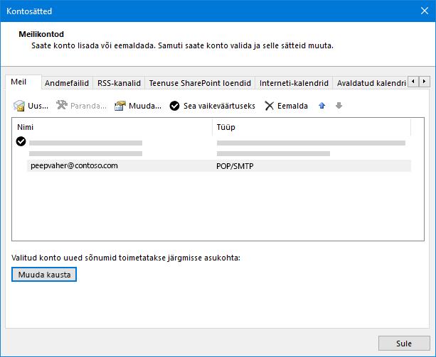 Outlooki konto sätete dialoogiboks
