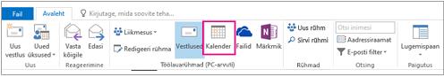 Kalendri nupp Outlooki rühmade lindil