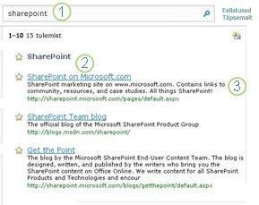 SharePoint Serveri kolm parimat varianti kuvatakse otsingutulemite lehe ülaosas