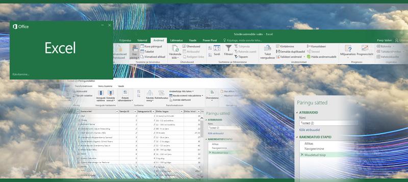 Päring rakenduses Excel 2016
