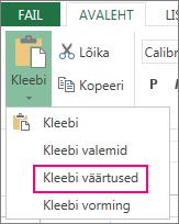Nupp Kleebi koos käsuga Kleebi väärtused veebirakenduses Excel Web App