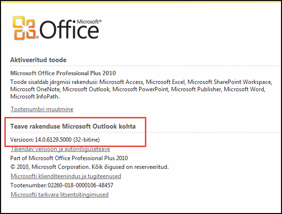"""Kuvatõmmis lehest, kus saate jaotises """"Teave Microsoft Outlooki kohta"""" kontrollida Outlook 2010 versiooni."""