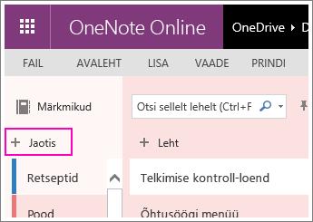 Kuvatõmmis OneNote Online'is uue jaotise loomisest.