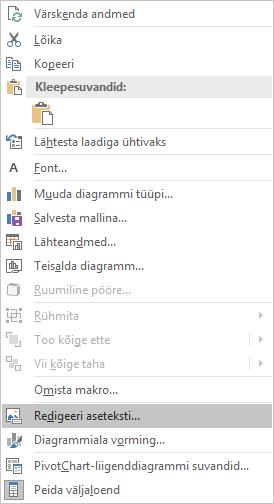 Excel Win32 redigeerimise menüü asetekst PivotChart-liigenddiagrammide jaoks