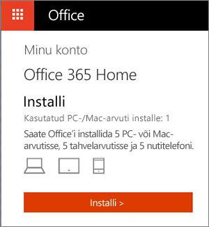 Office'i poe lehe Minu kontod nupp Installi