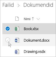 Kuvatõmmis loendivaates faili valimisest OneDrive'is