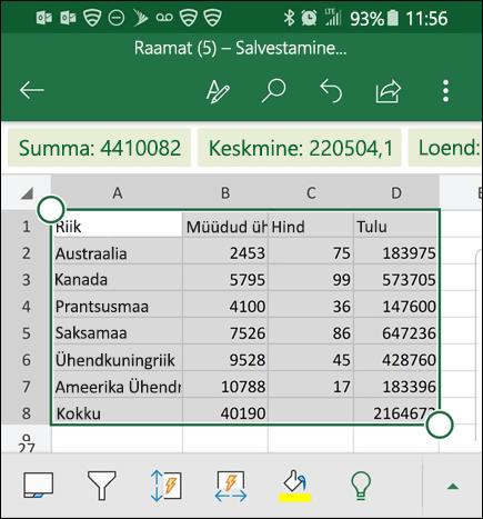Excelis on teisendatud andmete ja tagastab see ruudustikku.