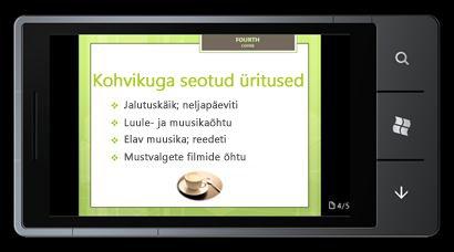 PowerPoint Mobile 2010 Windows Phone 7 jaoks: redigeerimine ja kuvamine telefoni kaudu