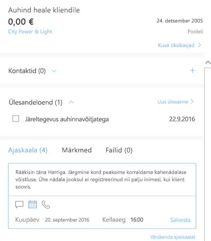 Uue tegevuse lisamine Outlooki kliendihalduris