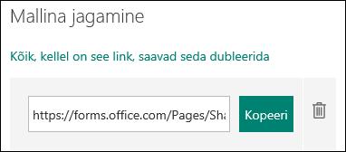 Vormi malli URL-i link kopeerimise ja kustutamise nupud kõrval.