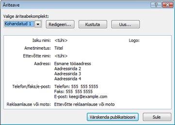 Äriteabekomplekti redigeerimine rakenduses Publisher 2010