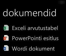 Windows Phone'is kuvatavad töölauadokumendid Office Remote'i töötamise ajal