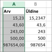 näide, kuidas arvud erinevates vormingutes kuvatakse, nt vormingutes Arv ja Üldine.