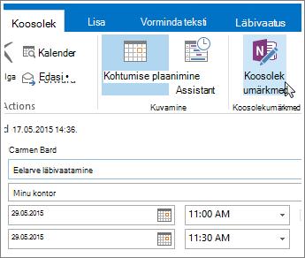 Kuvatõmmis OneNote'i koosolekumärkmete nupust Outlookis.