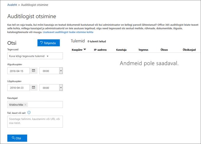 Office 365 tegevusaruanne, mis näitab suhtevõrgupartneri kogu tegevust