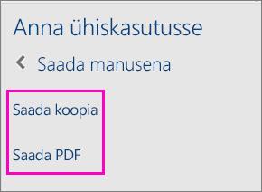 Pilt, millel on toodud kaks ühiskasutuspaani suvandit – dokumendi koopia või PDF-versiooni meiliga saatmine