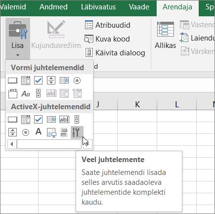 ActiveX-juhtelemendid lindil