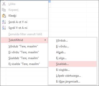 Kontekstimenüü, kus on kuvatud teksti filtreerimise suvandid