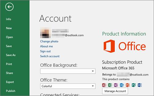 Office'iga seotud Microsofti konto andmed kuvatakse Office'i rakenduse aknas Konto