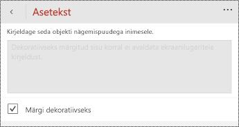 PowerPoint for Windows Phone asetekst dialoogiboksis dekoratiivse suvandi märgi.