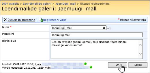 Loendimalli redigeerimise dialoogiboks