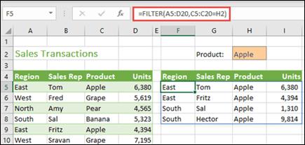 Funktsioon FILTER Exceli veebirakendus
