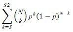 Funktsiooni BINOM.DIST.RANGE võrrand
