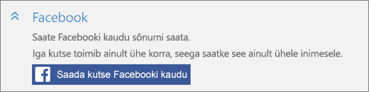 """Kuvatõmmis dialoogiboksi """"Kellegi lisamine"""" jaotise """"Facebook"""" nupu """"Saada kutse Facebooki kaudu"""" lähivaatest"""