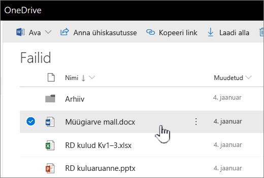 OneDrive, kus on valitud pilt