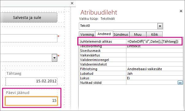Funktsiooni DateDiff sisestamine tekstivälja atribuuti Juhtelemendi allikas.