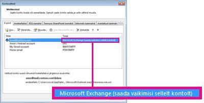 Microsoft Exchange'i konto kuvatuna dialoogiboksis Kontosätted