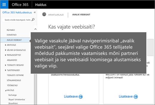 Valige Office 365 lehel Avalik veebisait