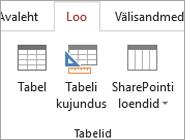 Accessi lindi käsk > tabeli kujunduse loomiseks