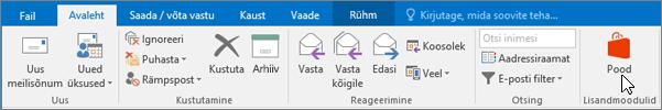 """Sellel kuvatõmmisel on näha Outlooki menüü """"Avaleht"""", kus kursor osutab jaotise """"Lisandmoodulid"""" ikoonile """"Pood""""."""