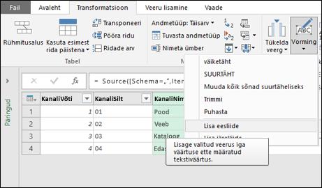 Power Query – ees-/järelliite lisamine tekstiveerule