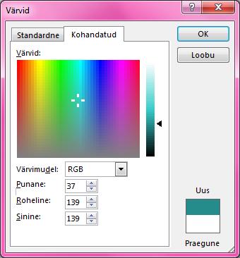 Värvide kohandatud segamise suvand