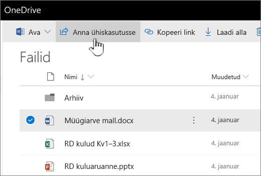 OneDrive, kus on valitud pilt ja nupp ühiskasutus