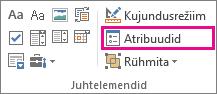 arendusrežiimi juhtelement Atribuudid